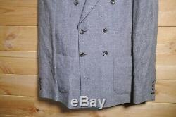 Men's Reiss Double Breasted Suit Linen Blend 38R 34 Grey Tribe B Slim Fit