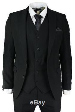 Men's Slim Fit Suit Black 3 Piece Work Office or Wedding Party Suit