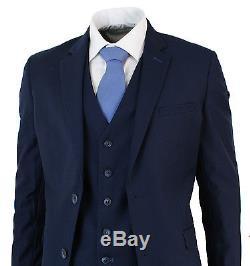 Men's Slim Fit Suit Blue 3 Piece Work Office or Wedding Party Suit
