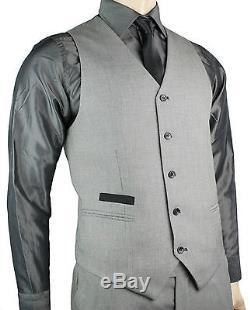 Men's Slim Fit Suit Grey Black Trim 3 Piece Work Office or Wedding Party Suit