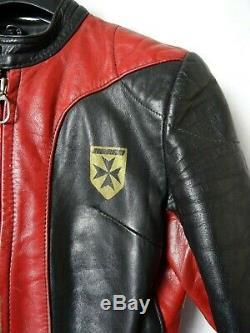 Men's Vtg 1970' HARRO 2 Piece Slim Fit Leather Motorcycle Race Suit 40R W28 L30