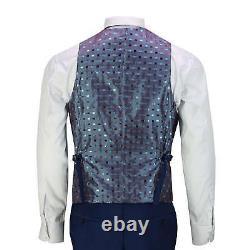 Mens 3 Piece Business Suit Navy Blue Retro Smart Formal Jacket Trouser Waistcoat