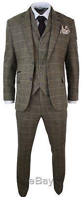 Mens 3 Piece Classic Tweed Herringbone Check Tan Brown Slim Fit Vintage Suit
