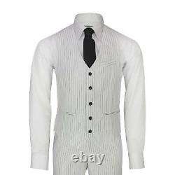 Mens 3 Piece Double Breasted Suit Black Pinstripe White 1920 Gatsby Tailored Fit