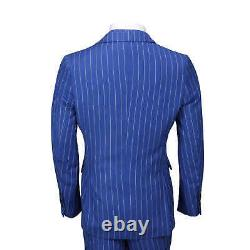 Mens 3 Piece Double Breasted Wide Chalk Stripe Suit Royal Blue Classic Retro Fit