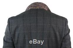 Mens 3 Piece Grey Blue Check Tweed Herringbone Vintage Slim Fit Suit