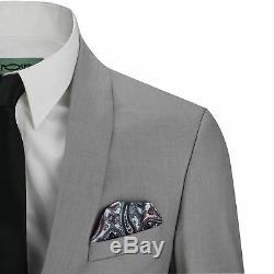 Mens 3 Piece Grey Shawl Lapel Slim Fit Vintage Smart Tux Suit Wedding Party Prom