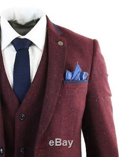 Mens 3 Piece Marc Darcy Tweed Retro Herringbone Wine Navy Trim Slim Fit Suit