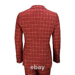 Mens 3 Piece Maroon Grid Check Suit with Contrast Double Breasted Waistcoat