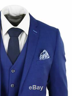 Mens 3 Piece Royal Blue Slim Fit Wedding Prom Office Suit Classic Harry Brown