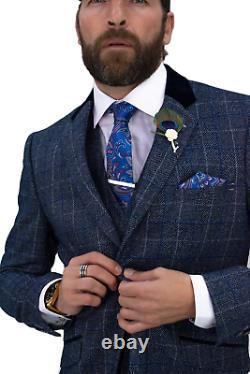 Mens 3 Piece Suit Blue Cavani Tweed Slim Fit Peaky Blinder Vintage Miles Wedding