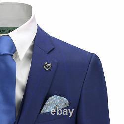 Mens 3 Piece Suit Blue Check on Navy Vintage Retro Smart Tailored Fit UK Size