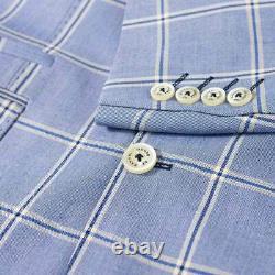 Mens 3 Piece Suit Cavani Sky Blue Check Vintage Wedding Peaky Blinders Slim Fit
