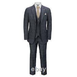 Mens 3 Piece Suit Herringbone Tweed Navy Blue Check Retro Fitted Peaky Blinders