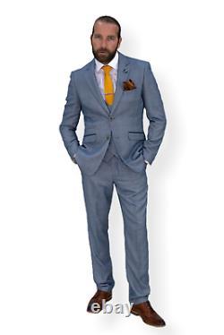 Mens 3 Piece Suit Light Blue Cavani Tweed Slim Fit Peaky Blinders Vintage Delray