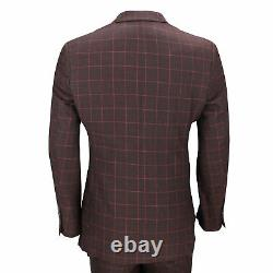 Mens 3 Piece Suit Maroon Grid Check Vintage Retro Smart Tailored Fit UK Size