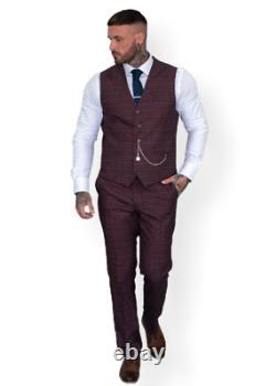 Mens 3 Piece Suit Red Cavani Tweed Slim Fit Peaky Blinders Vintage Wedding Prom