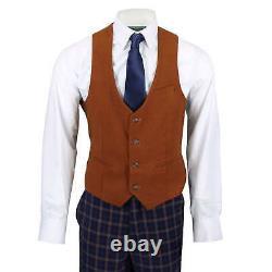 Mens 3 Piece Suit Retro Orange Check on Navy Blue Contrast Tan Waistcoat & Lapel