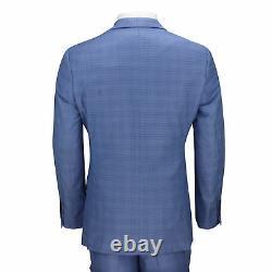 Mens 3 Piece Tailored Fit Blue Prince of Wales Check Smart Vintage Retro Suit