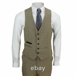 Mens 3 Piece Tailored Fit Tan Brown Prince of Wales Check Smart Vintage Suit