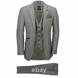 Mens 3 Piece Tailored Fit Yellow Grey Prince of Wales Check Smart Vintage Suit