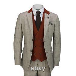 Mens 3 Piece Tweed Herringbone Red Check on Beige MOD Vintage Suit Tailored Fit