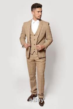 Mens 3 Piece Tweed Suit Wedding Party Slim Fit Check Blazer Waistcoat Trouser