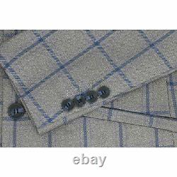 Mens 3 Piece Windowpane Blue Check Brown Vintage Tailored Fit Smart Formal Suit