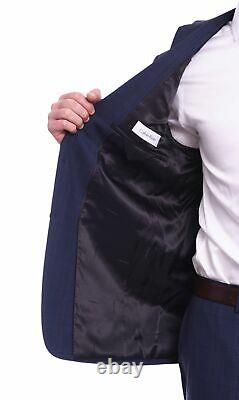 Mens 38R Calvin Klein Extreme Slim Fit Navy Blue Plaid Two Button Wool Suit
