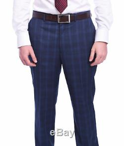 Mens 38R Dkny Slim Fit Navy Blue Plaid Two Button Wool Suit
