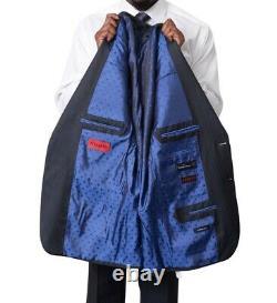 Mens 42R Italiano Men's Blue Sharkskin Ermenegildo Zegna Cloth Wool Slim Fit