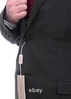 Mens 44R Canali Slim Fit 44r 54 Drop 8 Black Pinstriped Two Button Three Piec