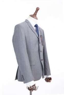 Mens Ben Sherman Mod Suit Grey Check Super Slim Fit Camden 40R W34 L31