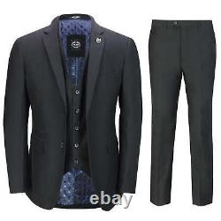Mens Black 3 Piece Business Suit Smart Casual Classic Tailored Fit Office Formal