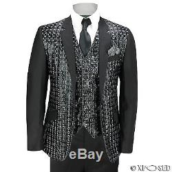 Mens Black Shiny Geometric 3D Print 3 Piece Suit Slim Fit Wedding Party Funky