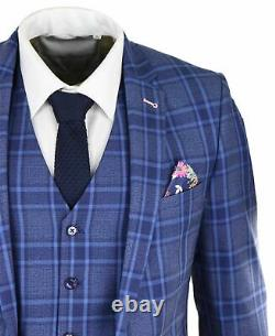 Mens Blue Navy Prince Of Wales Check 3 Piece Suit Classic Slim Fit Wedding Prom