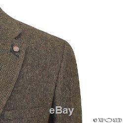 Mens Brown 3 Piece Wool Mix Herringbone Tweed Suit Vintage Smart Formal Slim Fit