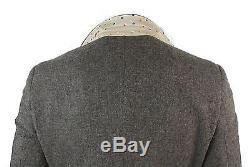 Mens Brown Herringbone Tweed Wool Mix Black 3 Piece Vintage Retro Suit Slim Fit