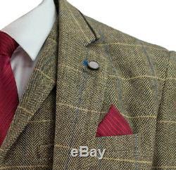 Mens Cavani 3 Piece Tweed Suit Tan Brown Herringbone Check Slim Fit (Clearance)