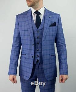 Mens Cavani Blue Check 3 Piece Suit Vintage Slim Fit Size 44 with 38 Trousers