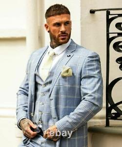 Mens Cavani Light Sky Blue Check Windowpane Wedding Tailored Fit 3 Piece Suit