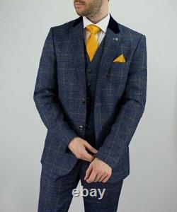 Mens Cavani Miles Navy Blue Tweed Check 3 Piece Suit Reg Fit Peaky Blinders