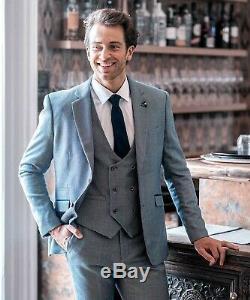 Mens Cavani Peaky Blinders Blue Check Tweed 3 Piece Suit Slim Fit Wedding Suit