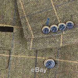 Mens Cavani Peaky Blinders Tweed 3 Piece Suit Wool Short Regular Long Wedding