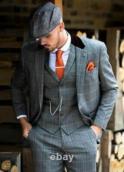 Mens Cavani Peaky Blinders Tweed Check Herringbone 3 Piece Suit Wedding Slim Fit