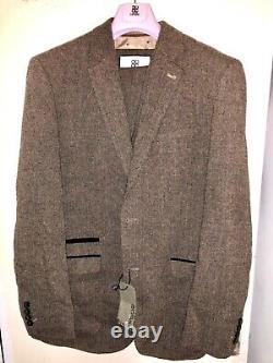 Mens Cavani Premium Tweed Check Herringbone Peaky Blinders Slim Fit 3 Piece Suit