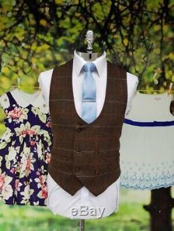 Mens Cavani Tommy 3 Piece Brown Check Peaky Blinders Slim Fit Tweed Suit