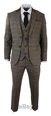 Mens Check Vintage Herringbone Tweed Tan Brown 3 Piece Suit Slim Fit Wedding