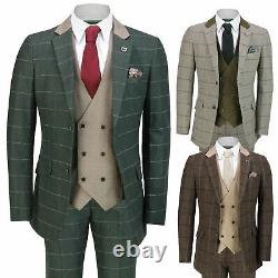 Mens Classic 3 Piece Tweed Suit Herringbone Check Smart Retro Tailored Fit Suit