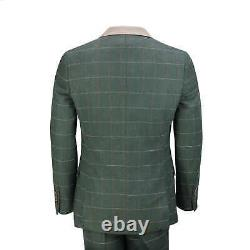 Mens Classic 3 Piece Tweed Suit Olive Green Herringbone Check Smart Tailored Fit